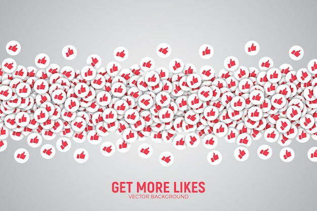 3d vector facebook like thumb up icons conceptual illustration