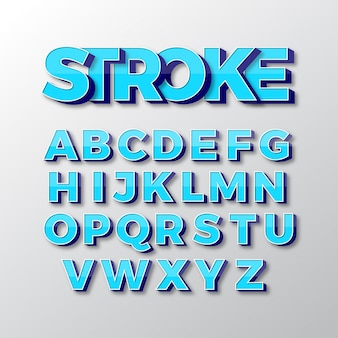 3d vector fonts set design