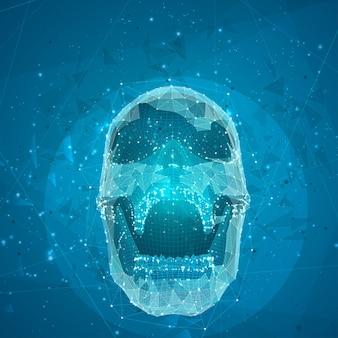 모든 세그먼트의 3d 벡터 인간 두개골이 폭발합니다. 밝은 예술.
