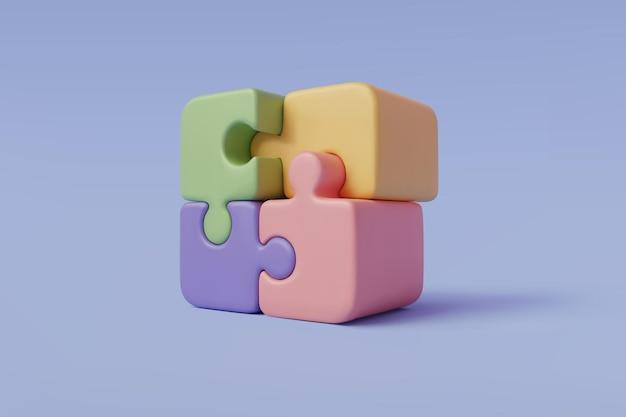 ジグソーパズルキューブ、eps10ベクトルの3dベクトルイラスト。