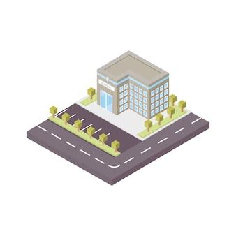 볼륨의 3d 벡터 일러스트 레이 션. 대형 창문, 주차장 및 도로 표시가 있는 병원 건물. 치료 및 의학을 주제로 한 아이소메트릭 3d 드로잉. 다층 의료 센터.