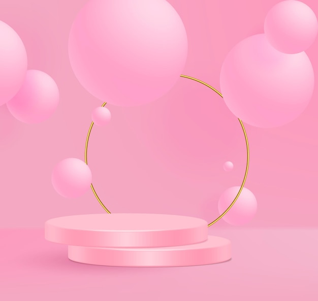 3d vector illustration stand minimal pink wall scene. Premium Vector