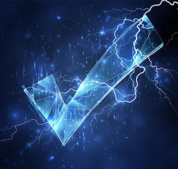 青い空を背景に3dベクトルオブジェクト。雷と雷。強さと力
