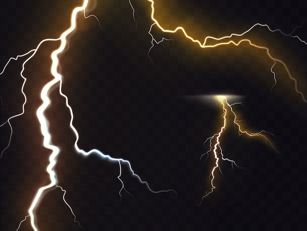 3d vector realistic illustration of thunderbolt