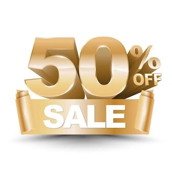 3d vector shiny gold discount 50 percent off