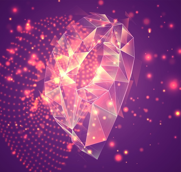 분홍색 배경, 폭발된 크리스탈에 3d 벡터 기호