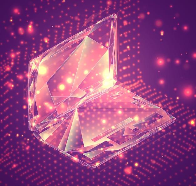 3dベクトルシンボル、ピンクの背景にボリュームオブジェクト。ビジネスとプレゼンテーションのレイアウト