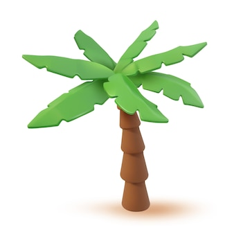 3d vector tropical palm cartoon illustration. tropic jungle realistic plant isolated on white. minimal summertime palmtree object render design