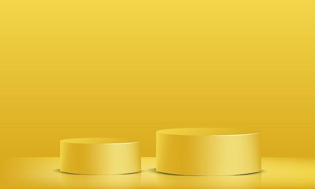 3dベクトル黄色の表彰台ショーケース