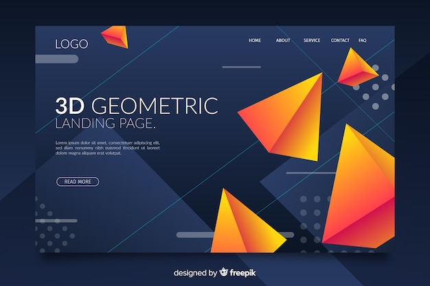 3d vibrant geometric shapes landing page