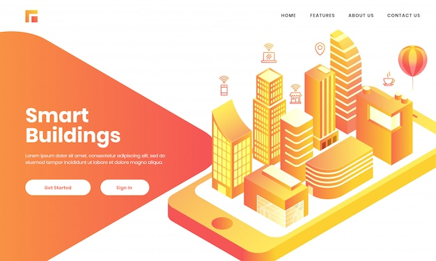 スカイスケーパーの建物、家、病院の3dビューは、スマートビルのコンセプトベースのランディングページデザインのスマートフォンのモバイルアプリのようなものです。