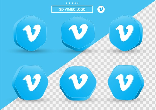 3d vimeo icon in modern style frame and polygon for social media icons logos Premium Vector