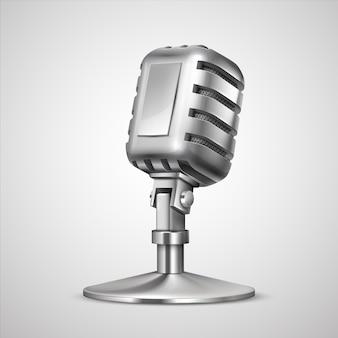 3d vintage professionals metal mic on holder