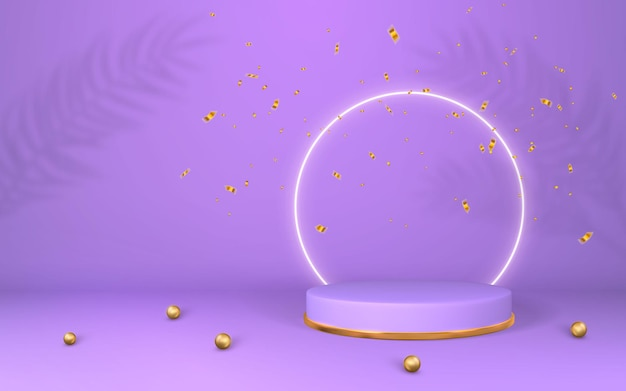 3d violet pedestal. purple podium display on empty room. stage for product on cylinder podium. minimal style.