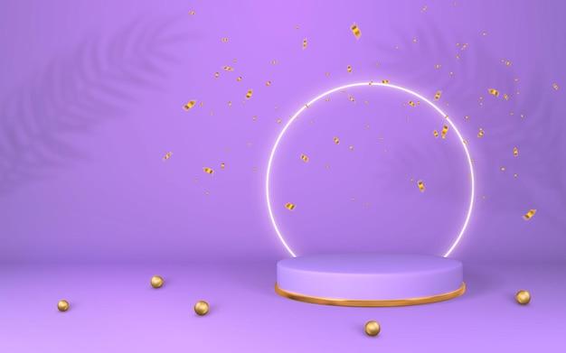 3dバイオレット台座。空の部屋に紫色の表彰台が表示されます。シリンダー表彰台での製品のステージ。最小限のスタイル。