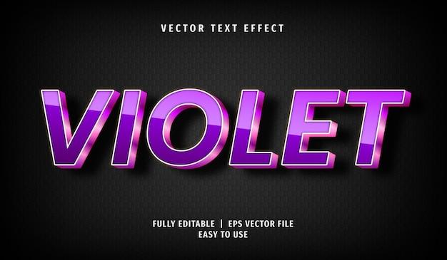 3d violet text effect, editable text style