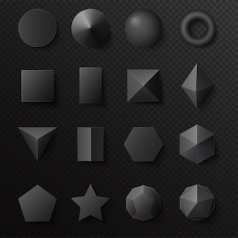 3d volumetric black shapes figures set. realistic primitives with shadows.