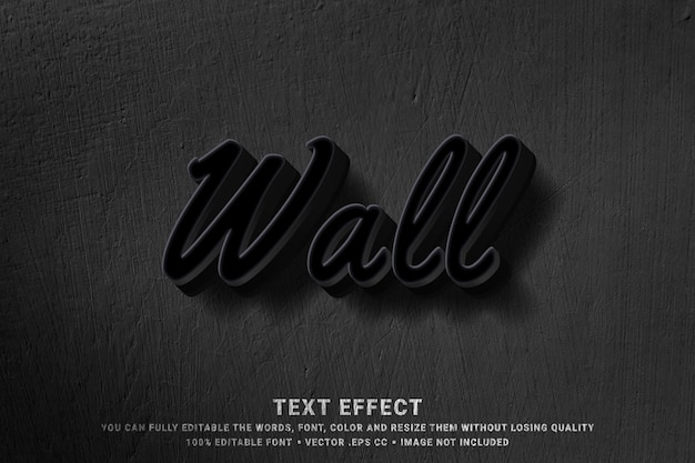 3d wall - text style effect