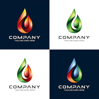 3d water, flame, leaf logo