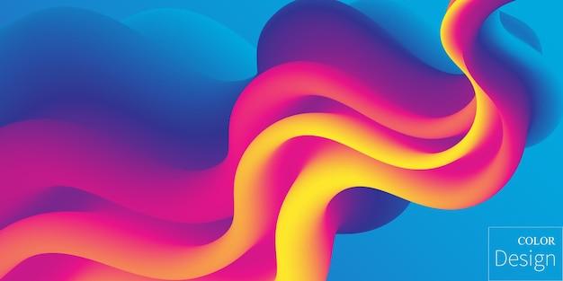 流体の色の背景を持つ3d波