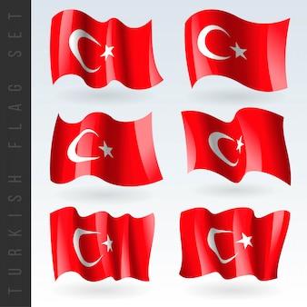 3d waving flag of turkey.