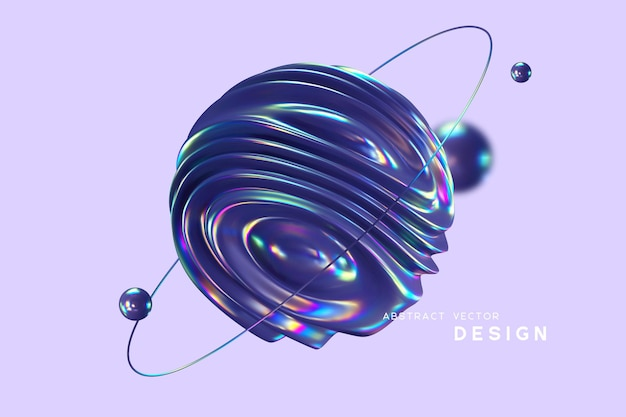 3d wavy fluorescent sphere arounded ring and balls. abstract shapes with thin film effect.