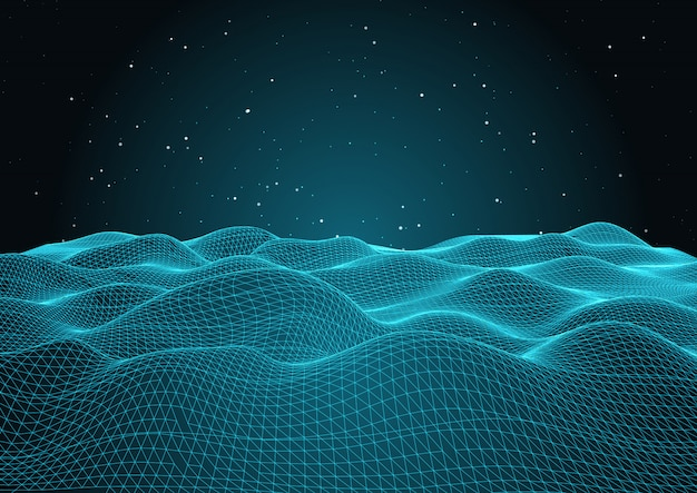 3d wavy net with starry sky
