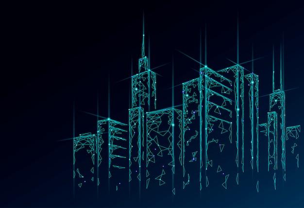 低ポリスマートシティ3dワイヤーメッシュ。インテリジェントなビルディングオートメーションシステムのビジネスコンセプト。 webオンラインコンピューターネットワーク。建築都市景観技術スケッチ図