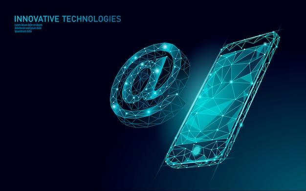 メールでソーシャルメディアのサイン。メッセンジャーの個人的な魅力のシンボル通知で低ポリゴン3dポリゴン。オンライン通信webメッセージモバイルスマートフォンメールエージェントイラスト