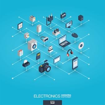 エレクトロニクス統合3d webアイコン。デジタルネットワーク等尺性概念。