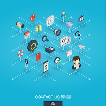 統合された3d webアイコンをサポートします。デジタルネットワーク等尺性概念。