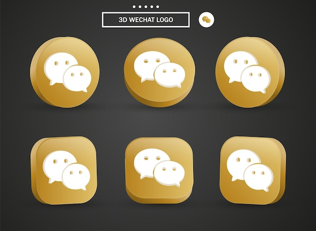 3d wechat logo icon in modern golden circle and square for social media icons logos