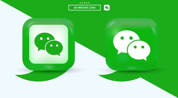 3d wechat logo in modern style for social media icons - orange square
