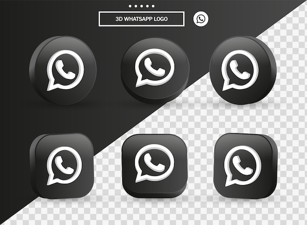 3d whatsapp logo icon in modern black circle and square for social media icons logos