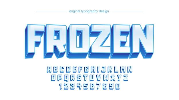 3d白と青の氷の漫画のタイポグラフィ