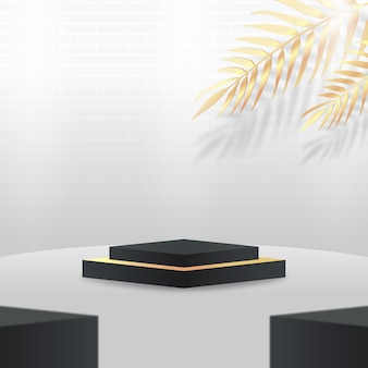 3d white and black podium display with tropical golden leaves