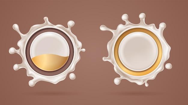 우유, 밀크 쉐이크 용융 초코 표시 또는 현실적인 커피 방울이있는 3d 화이트 초콜릿 스플래시
