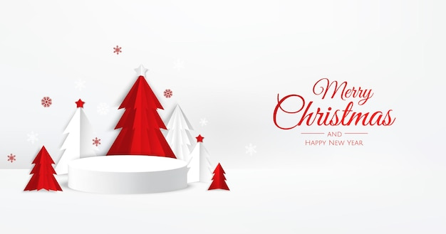 ペーパーカットスタイルのクリスマスツリーと3dホワイトサークル表彰台ディスプレイ。冬の休日の背景。