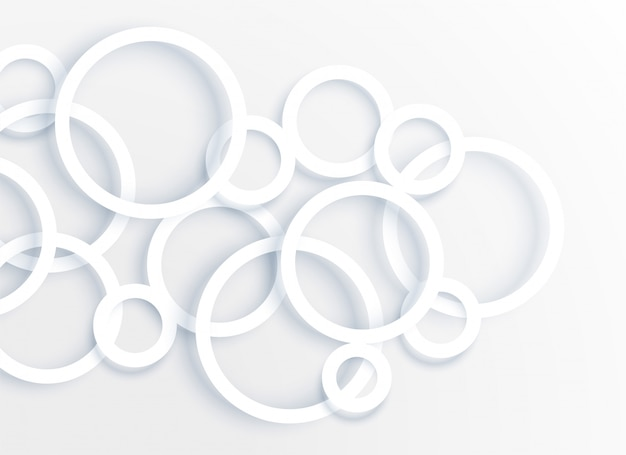 3d white circle rings background vector