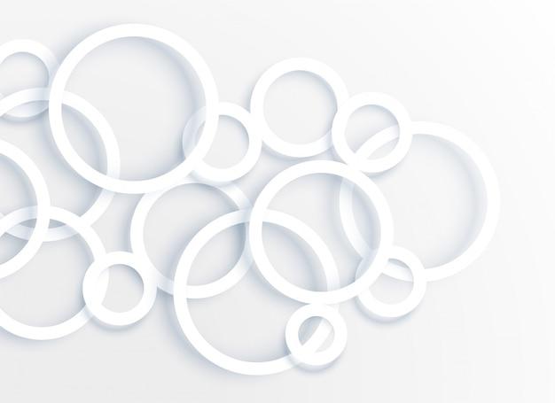 3 dホワイトサークルリング背景ベクトル