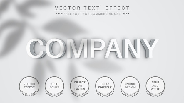 3d white company paper text effect, font style