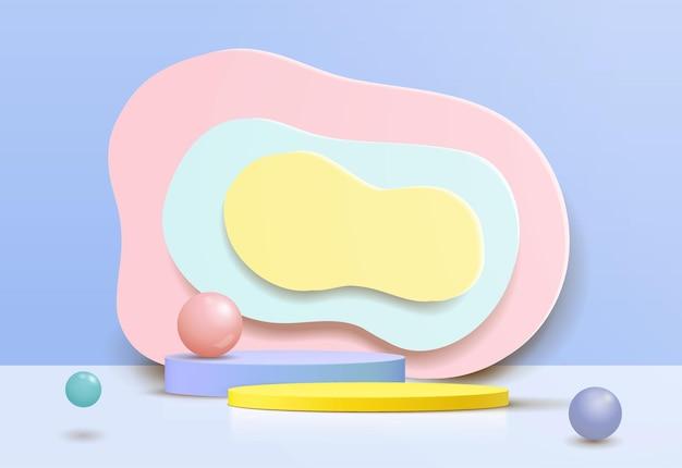 抽象的な壁のシーンと3d白いシリンダー台座の表彰台。製品ディスプレイプレゼンテーション用の最新のベクトルレンダリング幾何学的プラットフォーム。