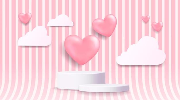 リアルなピンクの風船がハートの壁のシーンと紙でカットされた雲を形作る3dの白いシリンダー台座の表彰台。