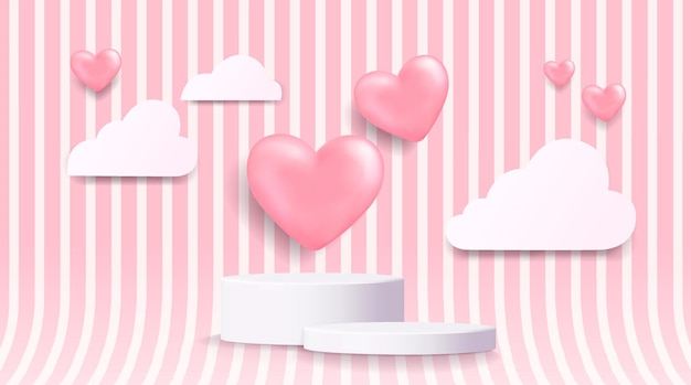 3d white cylinder pedestal podium with realistic pink balloons shape heart wall scene and paper cut clouds.