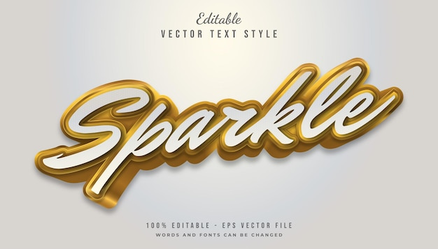 3d white and gold text style effect