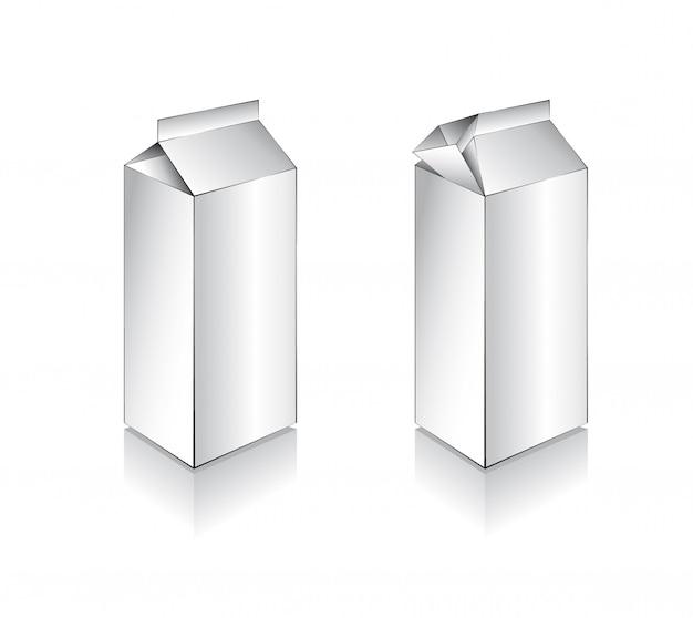 3d white milk box