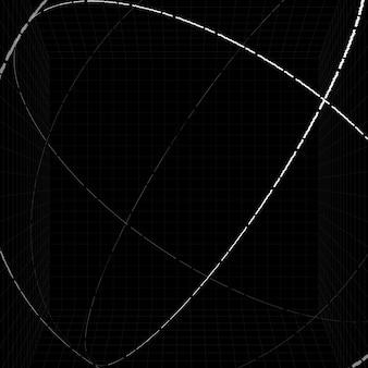3d 흰색 윤곽선 구 배경 벡터
