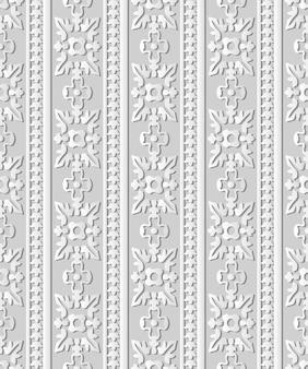 3d 백서 아트 곡선 크로스 라운드 잎 꽃 프레임 라인, 세련된 장식 패턴.