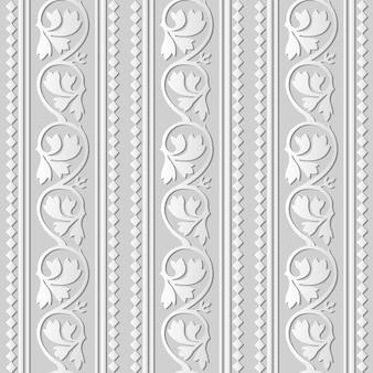 3d 백서 아트 곡선 나선형 덩굴 식물 잎 체크 크로스 라인, 세련된 장식 패턴.