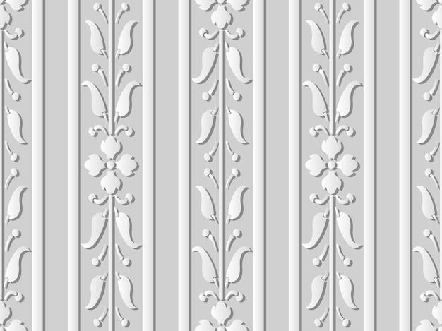 3d белая бумага искусство цветок прямой стебель виноградная линия лист, стильный узор украшения.